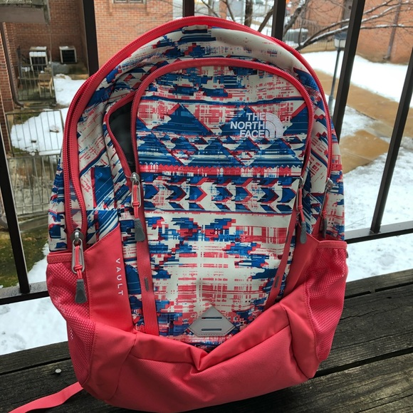 North Face Pink and Blue North Face Backpack